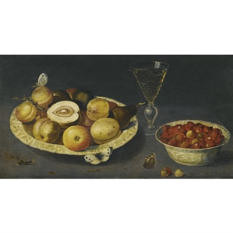 a still life with strawberries pears and peaches in two porcelain bowls on a table with a wineglass and butterflies by osias beert the elder
