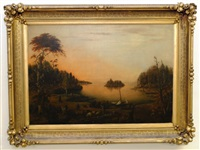 lake landscape with figures by victor de grailly