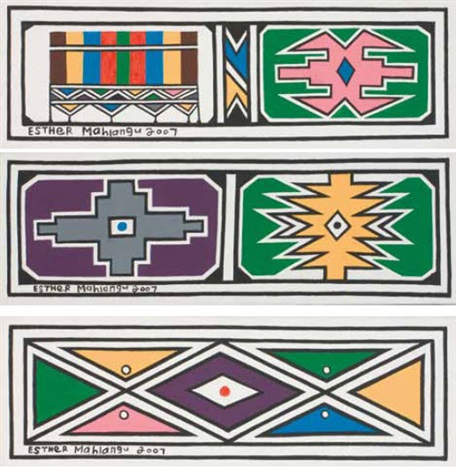 ndebele wall motifs 2 others 3 works by esther mahlangu