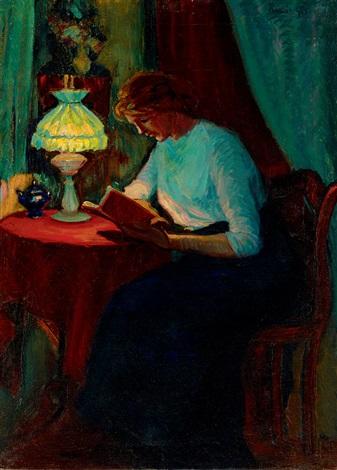 girl reading by géza kádár