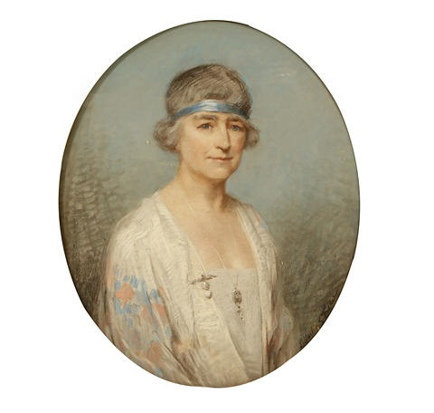portrait of a lady wearing embroidered white silk jacket by percy harland fisher