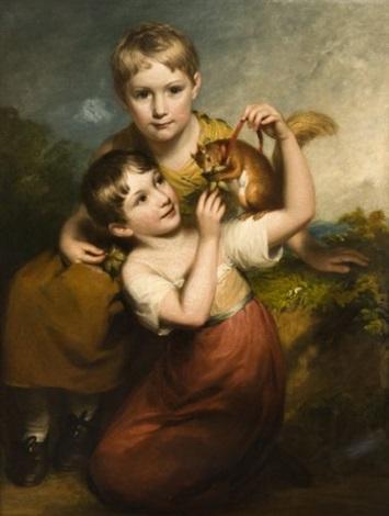 deux jeunes enfants donnant des noisettes à un écureuil by john opie