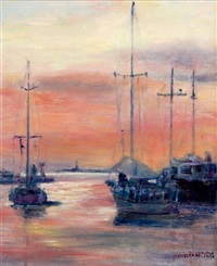 dusk, andrat harbour, majorca by sarah davidson