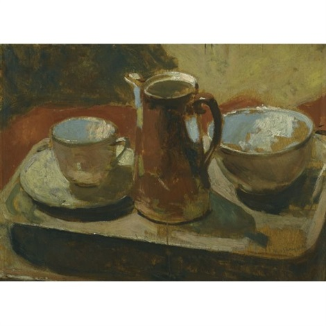 the brown coffee pot still life with melon verso by robert macbryde