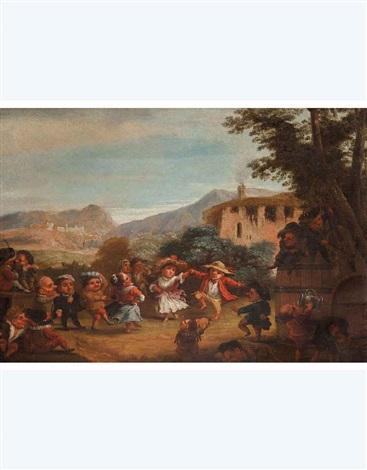 festa campagnola di nani litigio di nani in taverna 2 works by enrico albricci