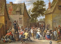 peasants making merry by an inn by david teniers the elder