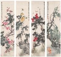 四季花卉图 (in 4 parts) by liu bin