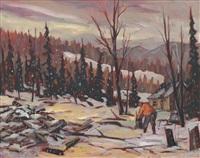 neige sur le camp (parc de la verendrye, laurentides) by claude langevin