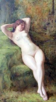 weiblicher akt im wald by auguste (maurice françois giuslain) léveque