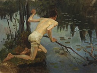 young man, study for the painting la sirene (young man and mermaid, 1897) by albert edelfelt