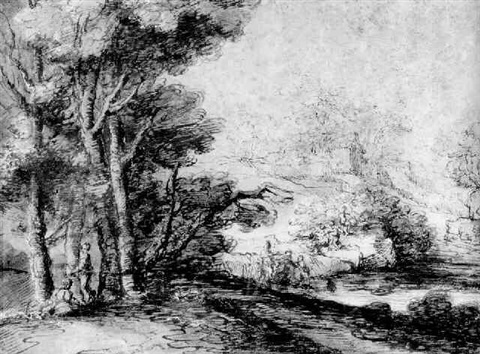 an extensive landscape with figures by a river by giuseppi maria figatelli