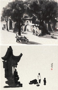 堡子·香火 (temple) (2 works) by li xiaochao