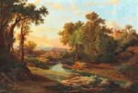 southern european landscape with a viaduct and temple ruins by karoly marko the elder