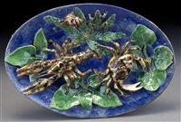 palissy ware charger by alfred renoleau