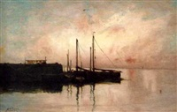 harbour at sunset by george w. aikman