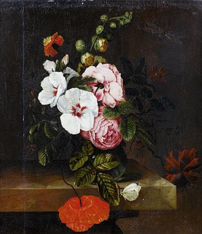 roses tulips and other flowers in a glass vase on a table top with a butterfly and a dragonfly by simon pietersz verelst