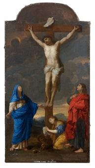 la vierge, la madeleine et saint jean au pied de la croix by nicolas mignard