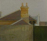study of paddington terrace behind fence by bryan westwood