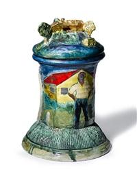 jar: landscape with artist by robert arneson