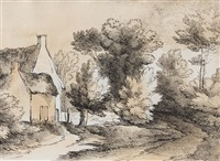 set of six engravings depicting rural landscapes engraved by william frederick wells by thomas gainsborough