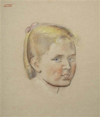 head of a young girl by hugo gellert