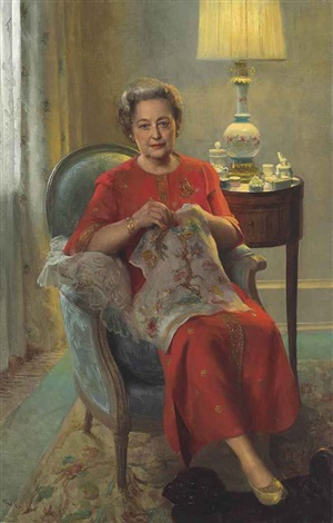 interior with a lady by john koch