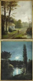 rivière au clair de lune (+ promeneuse à l'orée de la forêt; pair) by l. rigault
