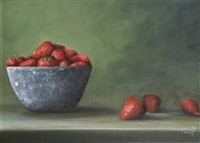 still life with strawberries by susan conneff