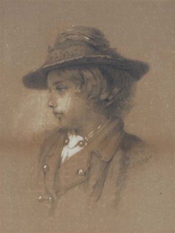 portrait of a boy wearing a hat by samuel fb morse