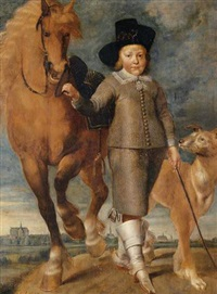 portrait of a young boy standing in a landscape with a horse and a dog, the town of alkmaar in the distance by matthijs van den bergh