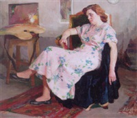 seated woman in a pink floral dress by leonid gershovich krivitsky
