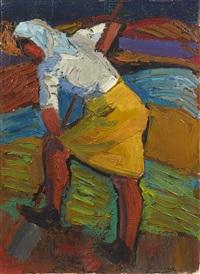 paysanne à la jupe jaune by pierre ambrogiani