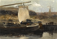 the canal boat, holland by charles paul gruppe