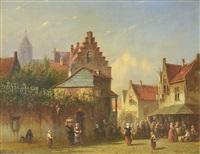 escena en un mercado de pueblo by pieter gerardus vertin
