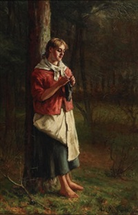 country girl knitting in a woodland glade by a.m. macdonald