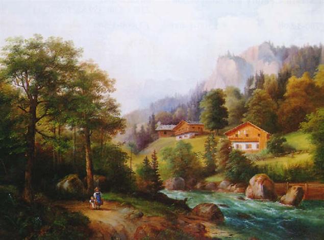 figures in an alpine landscape by julius abbiati