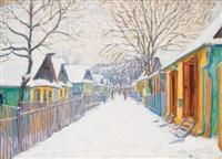 autumn street in nagybánya by géza kádár