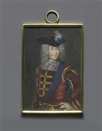 a nobleman, in gold-edged bordeaux-red velvet coat with slashed sleeves to reveal blue velvet by jacob christof le blon