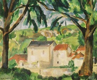 trees and farmhouse by niles spencer
