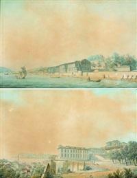 vue du palais de france à terapia sur le bosphore (+ vue du palais de france à pera, constantinople; 2 works) by ludwig rullmann