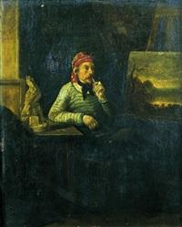 portrait d'un peintre dans son atelier by françois lauret