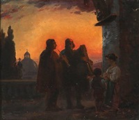 evening in rome with two street musicians by ernst meyer