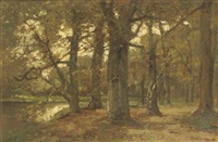 vijver in t haags bosch: a pond in a forest by frits mondriaan