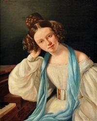 portrait de jeune fille à la robe blanche by e. de tarade