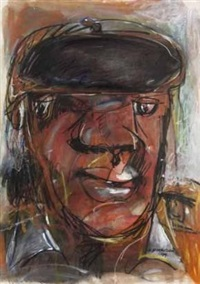 portrait of a man in a black beret by kagiso patrick mautloa