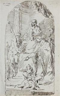 vierge à l'enfant adorée par saint jean-baptiste et saint liberal by pietro antonio novelli