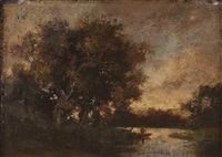 landscape with river, trees and figures by théodore rousseau