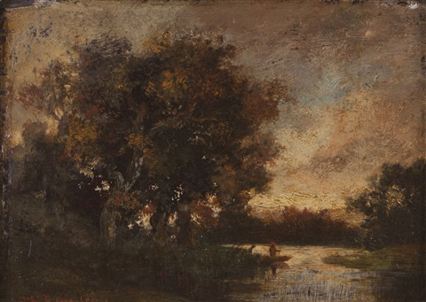 landscape with river trees and figures by théodore rousseau