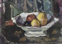a still life with fruits in a bowl by johan buning