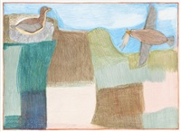 untitled (two birds in a landscape) by janet kigusiuq